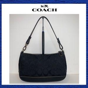 Coach Black Signature Demi Pouch Shoulder Bag